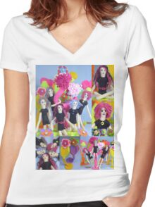 Felt Play Land Montage Women's Fitted V-Neck T-Shirt