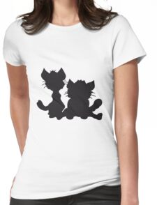 silhouette black outline silhouette sitting sweet cute cat team some 2 friends love Womens Fitted T-Shirt