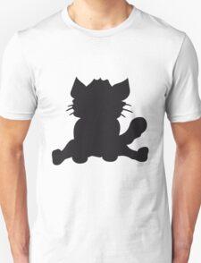 silhouette black outline silhouette sitting sweet cute kitten fluffy fur T-Shirt