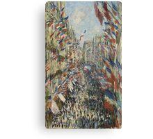 Claude Monet - The Rue Montorgueil in Paris. Impressionism Canvas Print