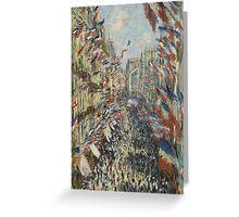 Claude Monet - The Rue Montorgueil in Paris. Celebration of June 30 Greeting Card