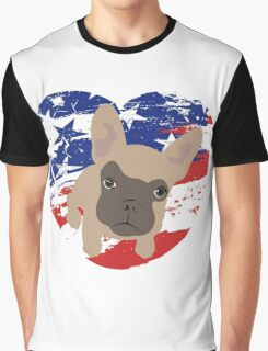 Proud American Frenchie, fourth of July Graphic T-Shirt