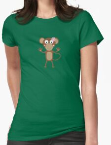 female monkey with flower  Womens Fitted T-Shirt