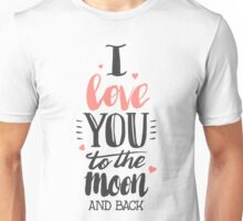I Love You To The Moon Back Red Unisex T-Shirt
