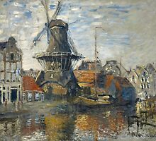 Claude Monet - The Windmill on the Onbekende Gracht  Amsterdam by famousartworks