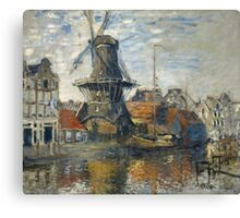Claude Monet - The Windmill on the Onbekende Gracht  Amsterdam Canvas Print