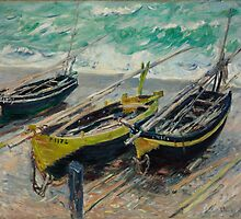 Claude Monet - Three Fishing Boats (1886) by famousartworks