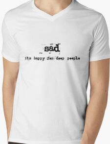 sad Mens V-Neck T-Shirt