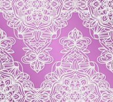 White Lace Design on Purple Background Sticker