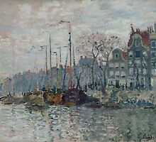 Claude Monet - View of the Prins Hendrikkade and the Kromme Waal in Amsterdam 1874 by famousartworks