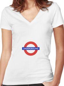 London Underground Tube Station  Women's Fitted V-Neck T-Shirt