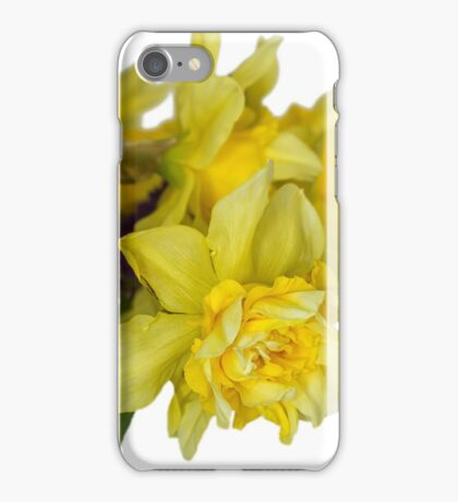 Daffodils macro in white iPhone Case/Skin