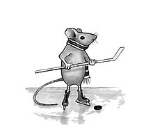 Mouse Playing Hockey, Pencil Drawing Photographic Print