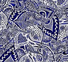 Modern navy blue indigo floral hand drawn pattern by GirlyTrend