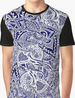 Modern navy blue indigo floral hand drawn pattern Graphic T-Shirt