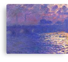 Claude Monet - Waterloo Bridge.  Sunlight Effect Canvas Print