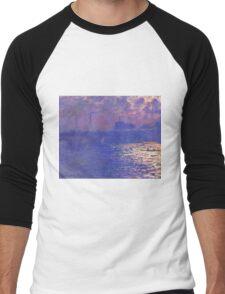 Claude Monet - Waterloo Bridge.  Sunlight Effect , Impressionism Men's Baseball ¾ T-Shirt