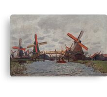 Claude Monet - Windmills near Zaandam (1871) Canvas Print