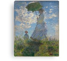 Claude Monet - Woman with a Parasol - Madame Monet and Her Son (1875) Canvas Print