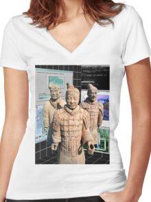 Chinese Vaporwave Aesthetics Women's Fitted V-Neck T-Shirt