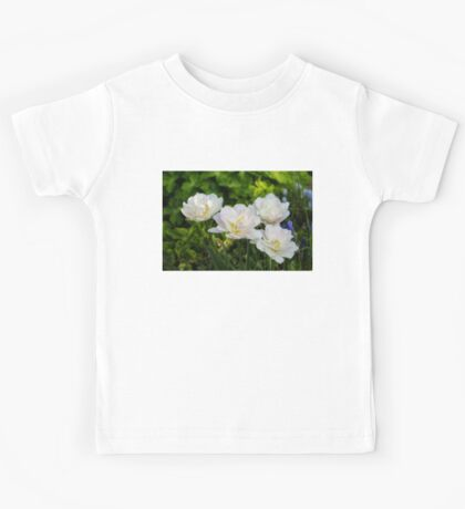 Soft White and Baby Pink Tulip Quartet - Enjoying the Beauty of Spring Kids Tee