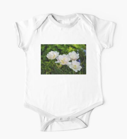 Soft White and Baby Pink Tulip Quartet - Enjoying the Beauty of Spring One Piece - Short Sleeve