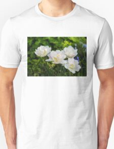 Soft White and Baby Pink Tulip Quartet - Enjoying the Beauty of Spring T-Shirt