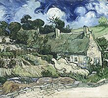 Vincent Van Gogh - Thatched Cottages at Cordeville by lifetree