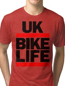 Run UK Bike Life DMC Style Moped Bikelife Motorcycle Gang Red & Black Logo Tri-blend T-Shirt
