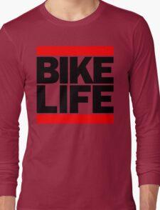 Run Bike Life DMC Style Moped Bikelife Motorcycle Gang Red & Black Logo Long Sleeve T-Shirt