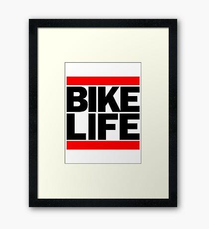 Run Bike Life DMC Style Moped Bikelife Motorcycle Gang Red & Black Logo Framed Print