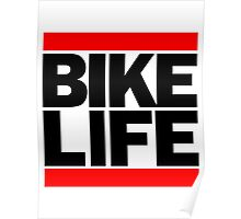 Run Bike Life DMC Style Moped Bikelife Motorcycle Gang Red & Black Logo Poster