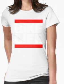 Run Bike Life DMC Style Moped Bikelife Motorcycle Gang Red & White Logo Womens Fitted T-Shirt