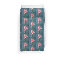 Pink Hollyhocks in Oil Pastel, Flowers, Garden Duvet Cover