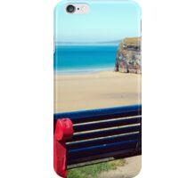 cliff walk bench overlooking the beach iPhone Case/Skin
