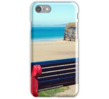 cliff walk bench overlooking the beach iPhone Case/Skin