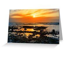 deep orange reflections at rocky beal beach Greeting Card
