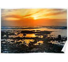 deep orange reflections at rocky beal beach Poster