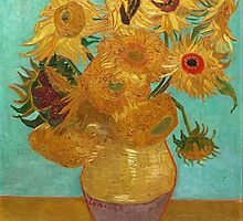 Vincent Van Gogh - Sunflowers with Blue Wall by lifetree