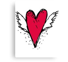 Red heart with wings Canvas Print