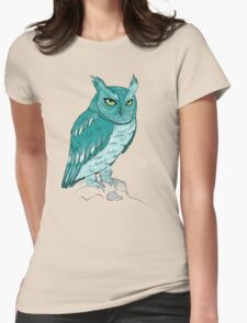 Teal Owl Womens Fitted T-Shirt