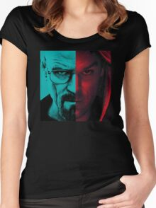HEISENBERG VS DEXTER Walter White Breaking Bad and Dexter Face Mash Up Women's Fitted Scoop T-Shirt
