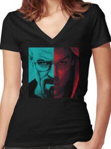 HEISENBERG VS DEXTER Walter White Breaking Bad and Dexter Face Mash Up Women's Fitted V-Neck T-Shirt