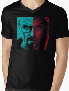 HEISENBERG VS DEXTER Walter White Breaking Bad and Dexter Face Mash Up Mens V-Neck T-Shirt