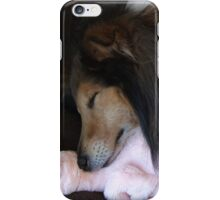Shetland Sheepdog sleeping with his toy iPhone Case/Skin