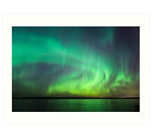 Northern lights over lake in Finland Art Print