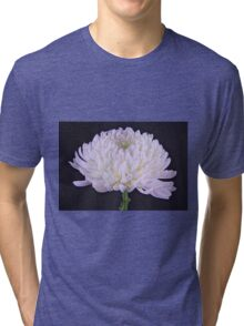 White Glowing Mum Flower Tri-blend T-Shirt