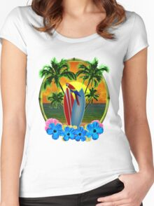 Tropical Sunset Women's Fitted Scoop T-Shirt