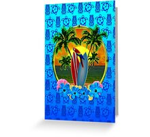 Blue Tiki Tropical Sunset Greeting Card