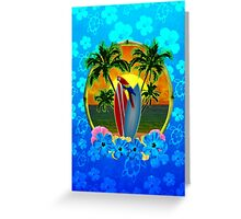 Blue Flowers Tropical Sunset Greeting Card